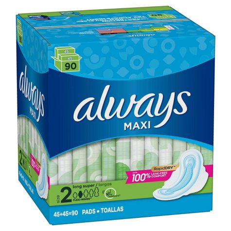 Always Maxi Long Super Pads with Wings (90 ct.)